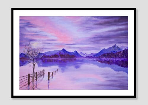 Sunset On The Lake Black Frame with Mat neutral background