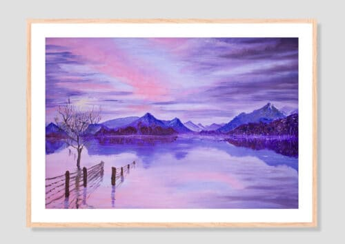 Sunset On The Lake Oak Frame with Mat