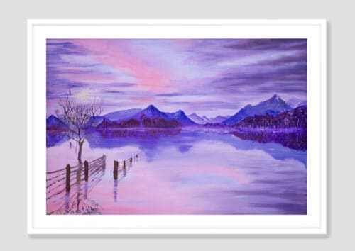 Sunset On The Lake White Frame with Mat neutral background