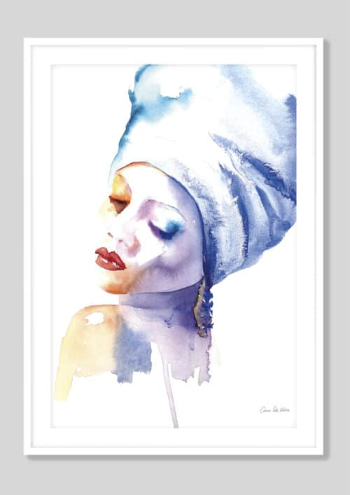 65111d Woman in Blue White Frame