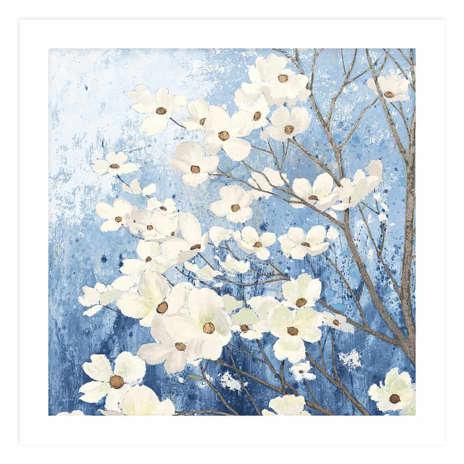 23972a Dogwood Blossoms I Indigo No Frame No Background