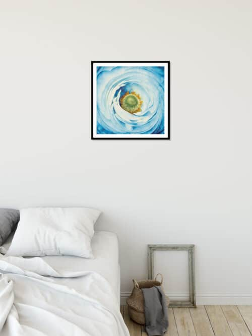 45211a White Peony with Blue Wall 02