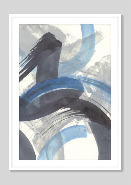 60196d Blue Brushy Abstract II Crop White Frame