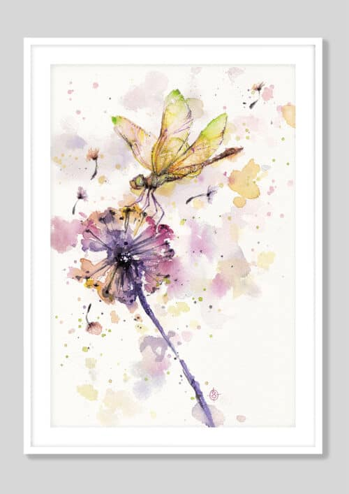 Copy of Dragonfly And Dandelion White Frame