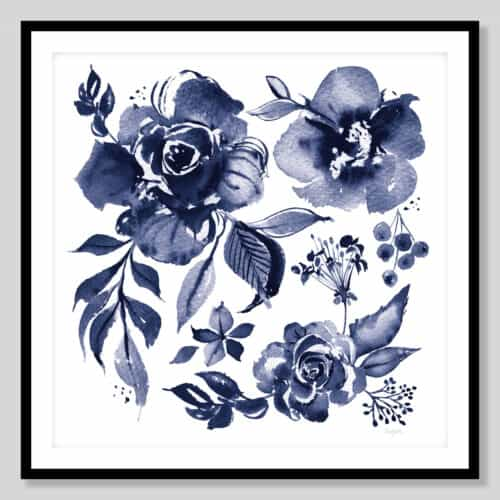 59156a Delft Delight III DB No Words Black Frame