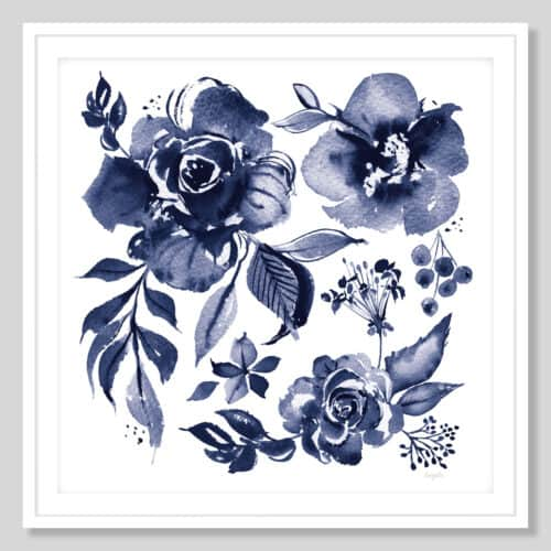59156a Delft Delight III DB No Words White Frame