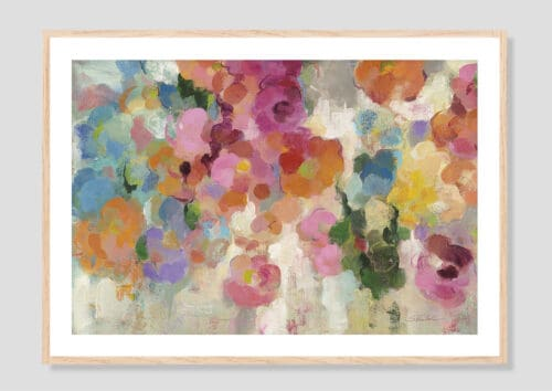 21922i Colorful Garden I Crop Oak Frame