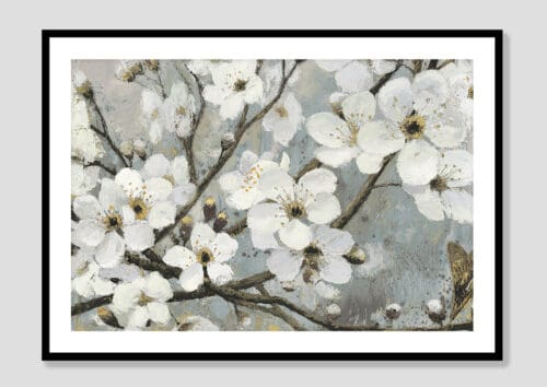 17842i Cherry Blossoms I Blue Black Frame
