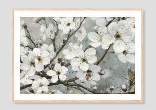 17842i Cherry Blossoms I Blue Oak Frame