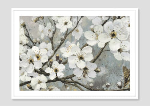 17842i Cherry Blossoms I Blue White Frame